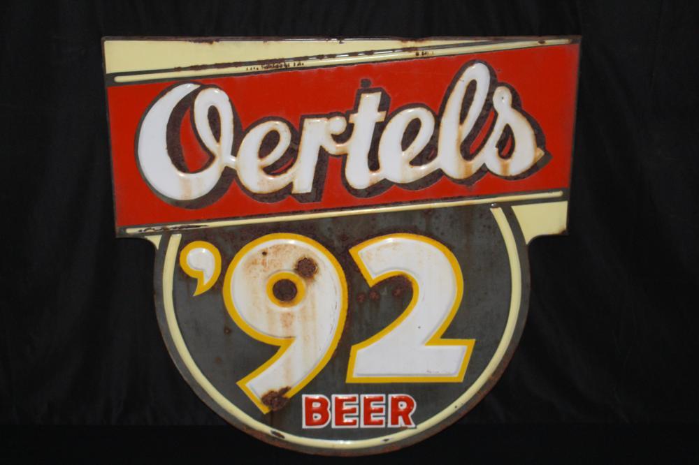 OERTELS 92 BEER EMBOSSED PORCELAIN SIGN