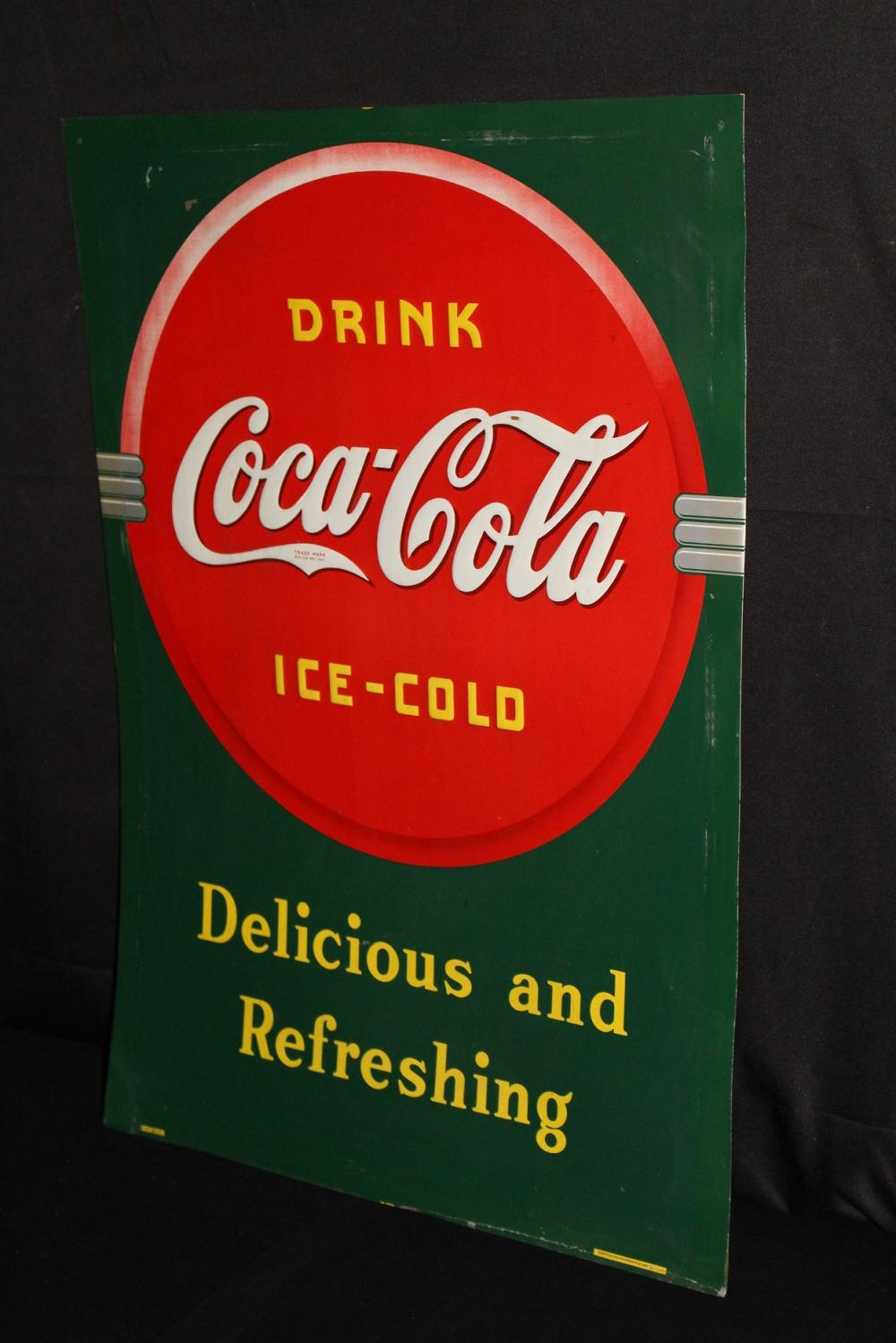 DRINK ICE COLD COCA COLA TIN SODA POP SIGN