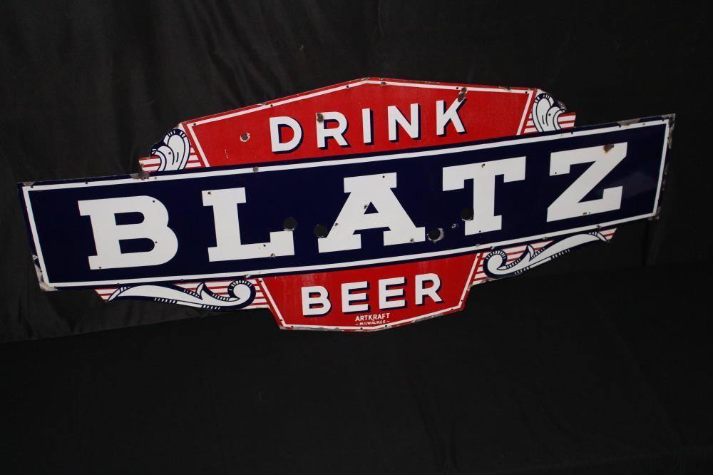 PORCELAIN BLATZ BEER NEON SIGN