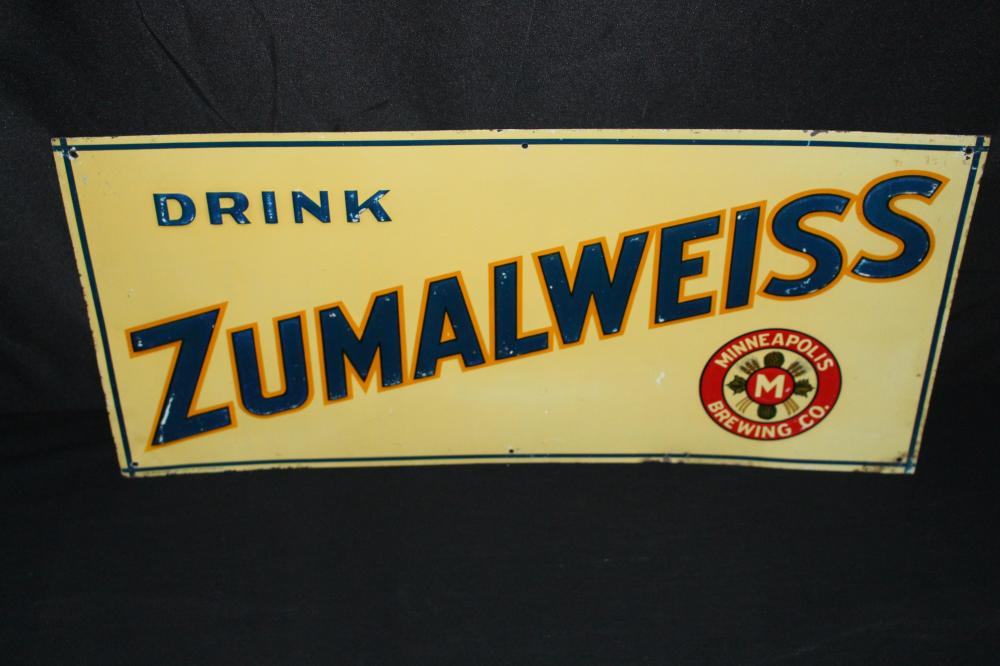 MINNEAPOLIS BREWING CO ZUMALWEISS BEER TIN SIGN