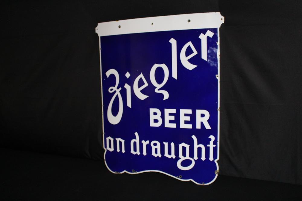 PORCELAIN ZIEGLER BEER ON DRAUGHT BEAVER DAM SIGN
