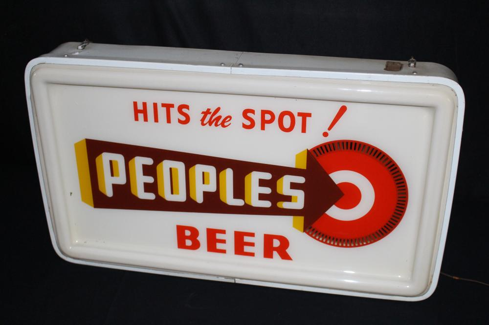 PEOPLES BEER HITS THE SPOT SPINNER LIGHTED SIGN