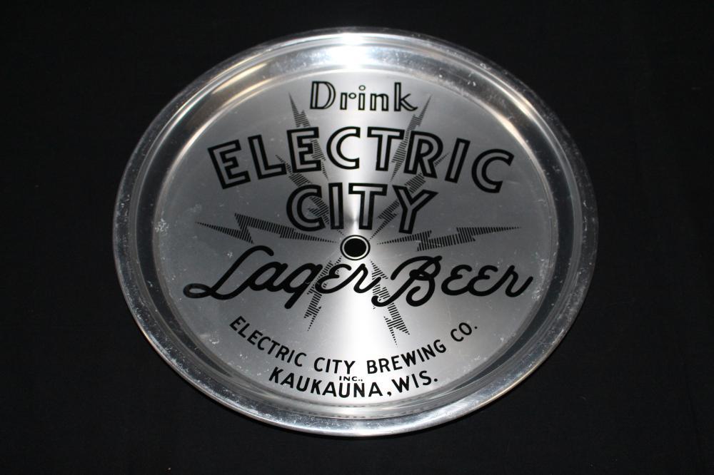 ELECTRIC CITY LAGER BEER TRAY KAUKANA WISCONSIN