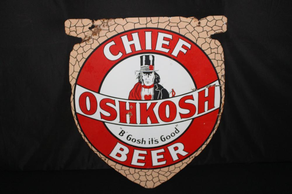 PORCELAIN CHIEF OSHKOSH BEER AROWHEAD SIGN