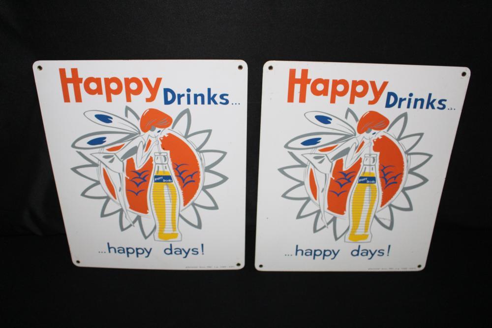 2 EUROPEAN HAPPY DRINKS SODA POP SIGN