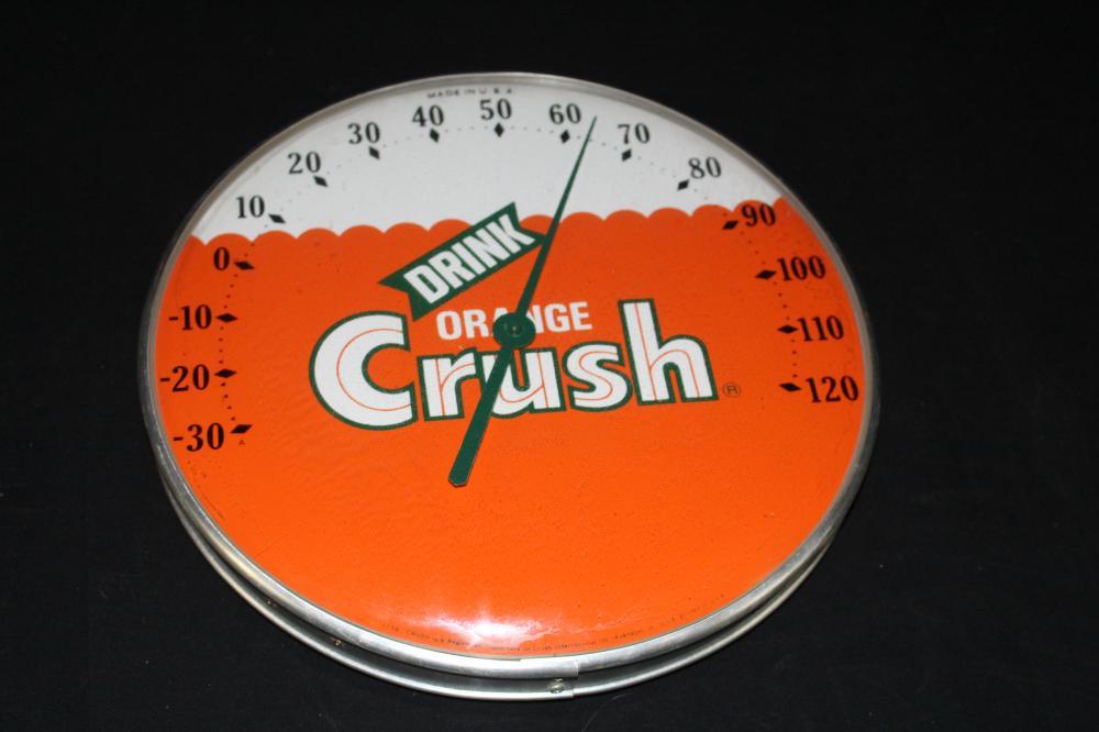 ORANGE CRUSH SODA POP THERMOMETER SIGN