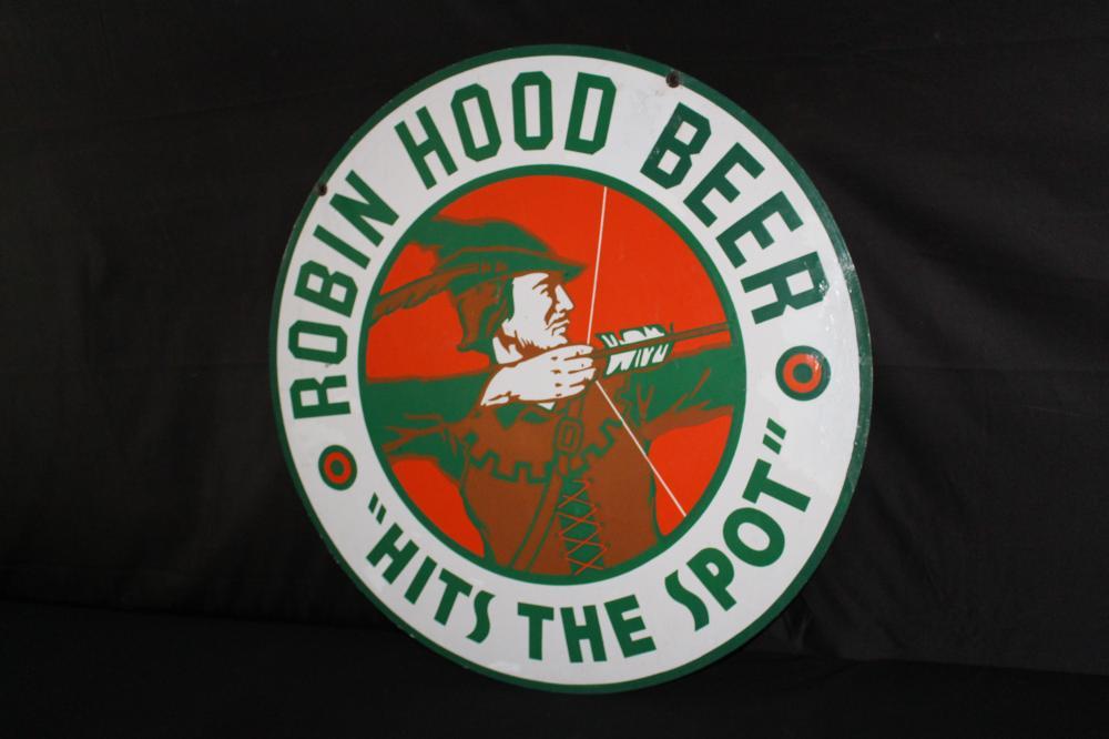 PORCELAIN ROBIN HOOD BEER SIGN 2 SIDED