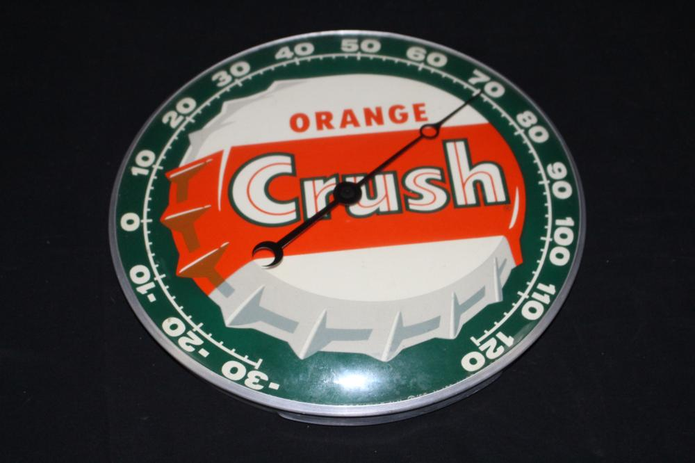 ORANGE CRUSH SODA POP BOTTLE CAP THERMOMETER