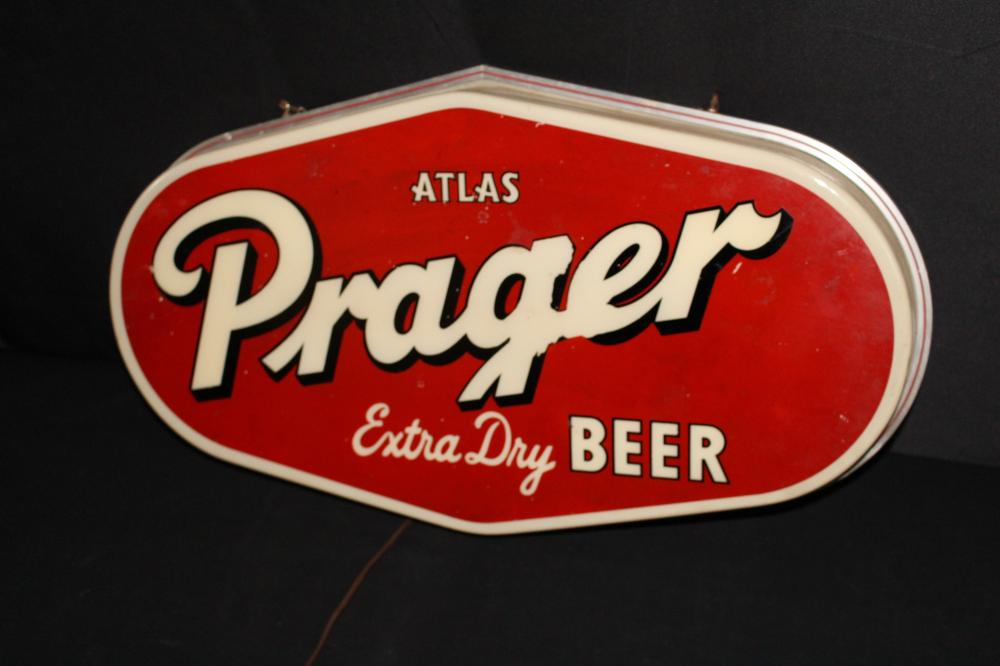 ATLAS PRAGER BEER LIGHTED SIGN CHICAGO ILLINOIS IL