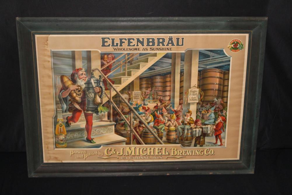 C&J MICHEL LA CROSSE WI ELFENBRAU BEER LITHO SIGN