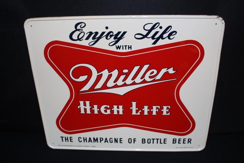 1955 ENJOY MILLER HIGH LIFE BEER TIN SIGN