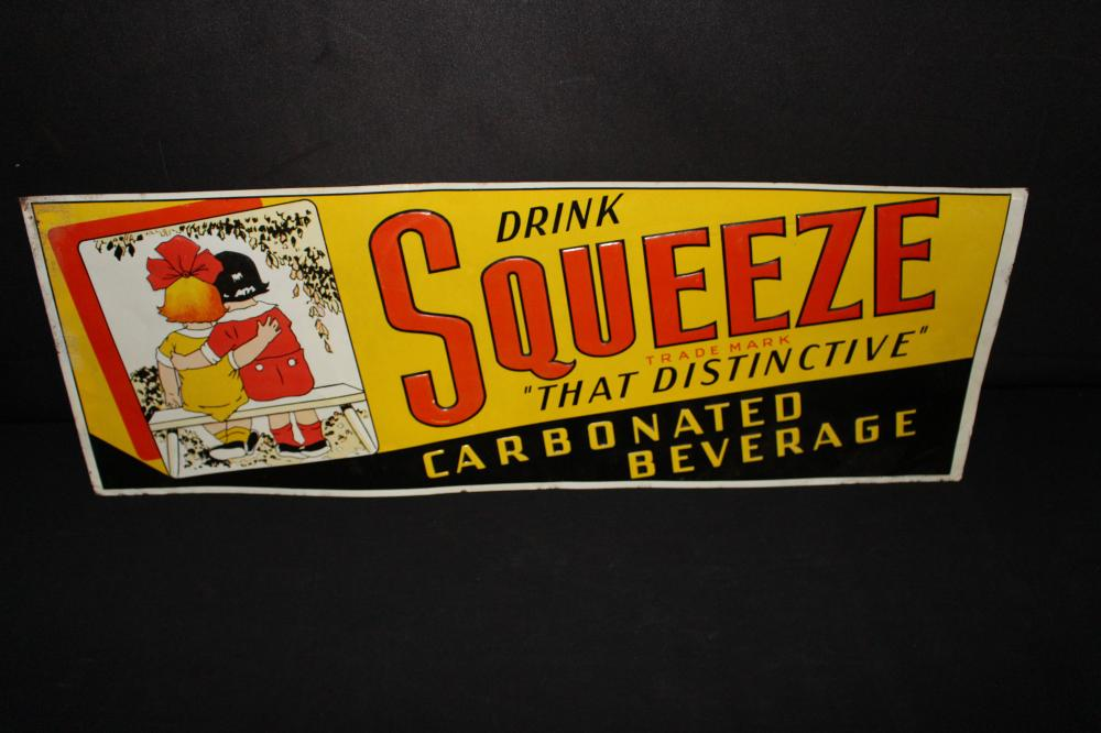 DRINK SQUEEZE SODA POP TIN SIGN