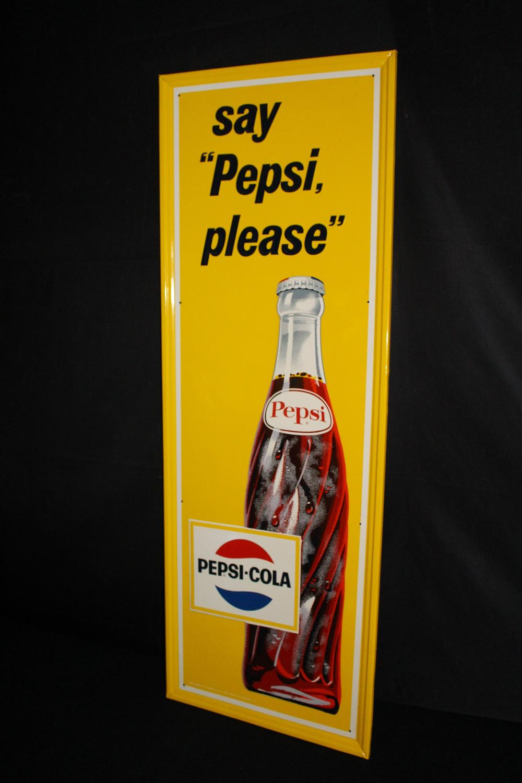 SAY PEPSI PLEASE SODA POP TIN SIGN