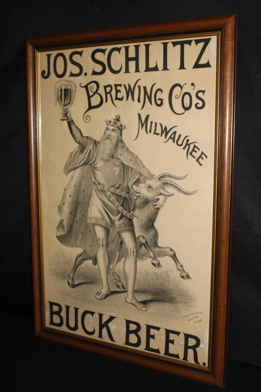 JOS SCHLITZ BREWING CO MILWAUKEE BUCK BEER LITHO
