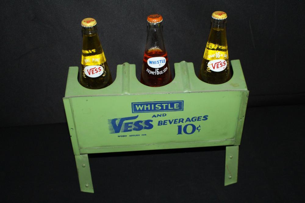 WHISTLE & VESS SODA POP BOTTLE HOLDER SIGN RACK