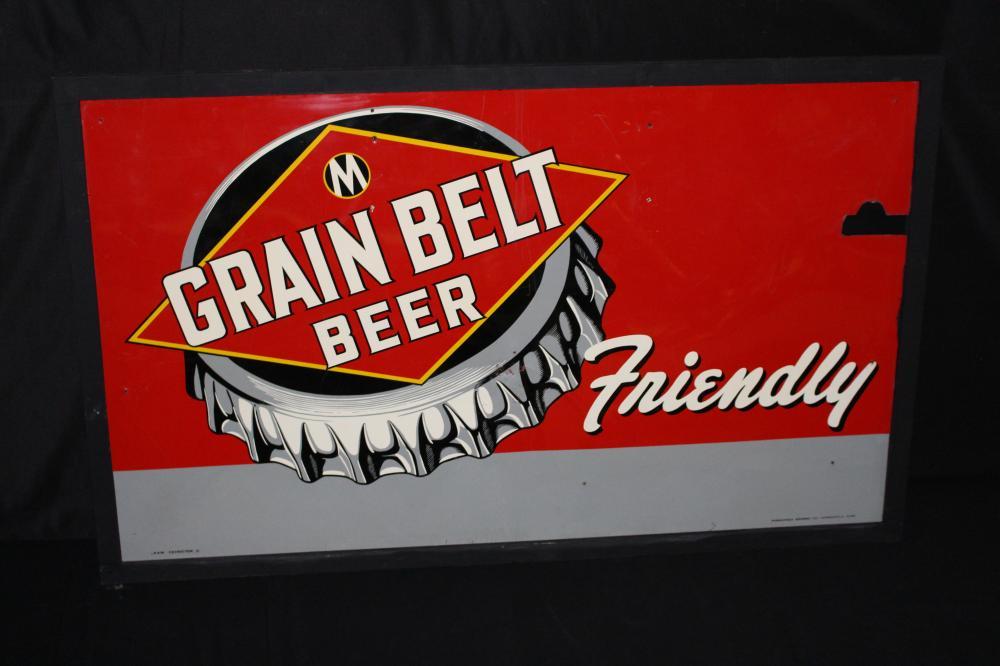 GRAIN BELT FRIENDLY BEER TIN SIGN