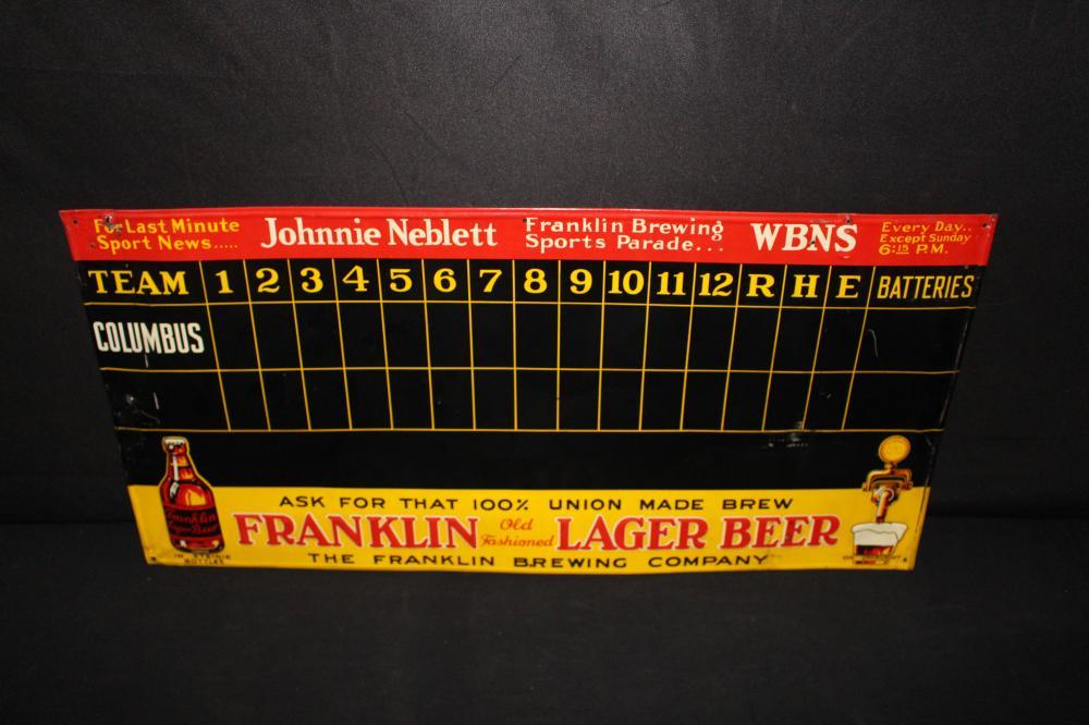 FRANKLIN LAGER BEER COLUMBUS OH SCOREBOARD SIGN