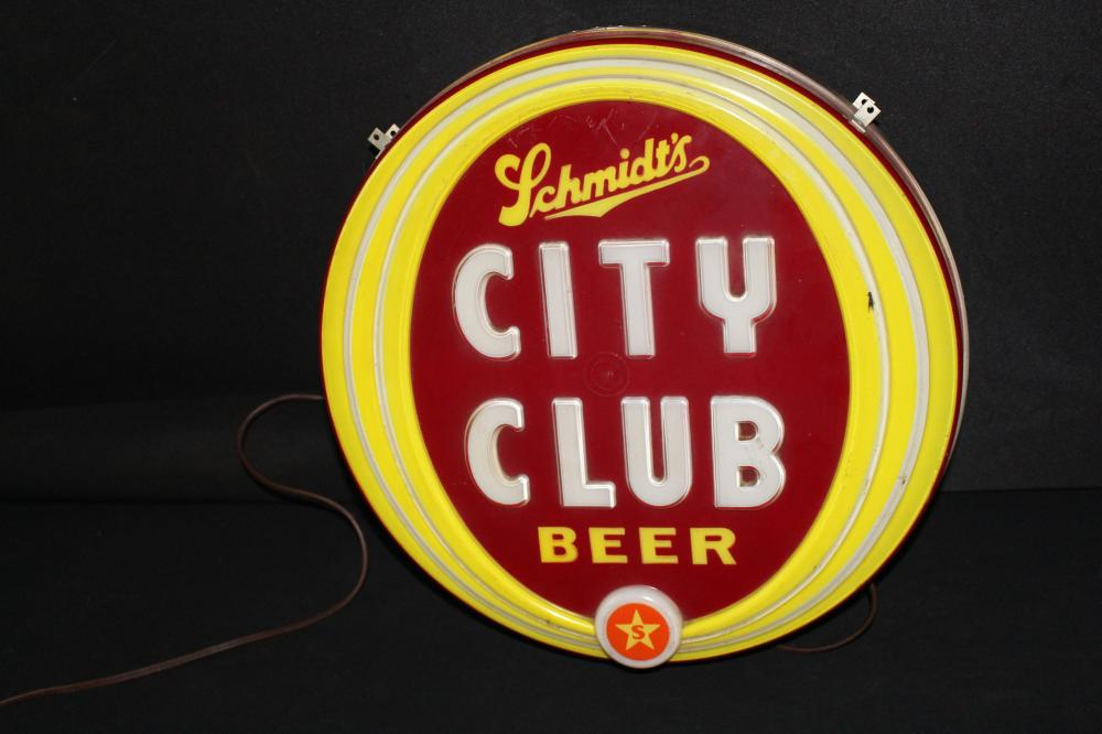 SCHMIDTS CITY CLUB BEER LIGHTED SIGN