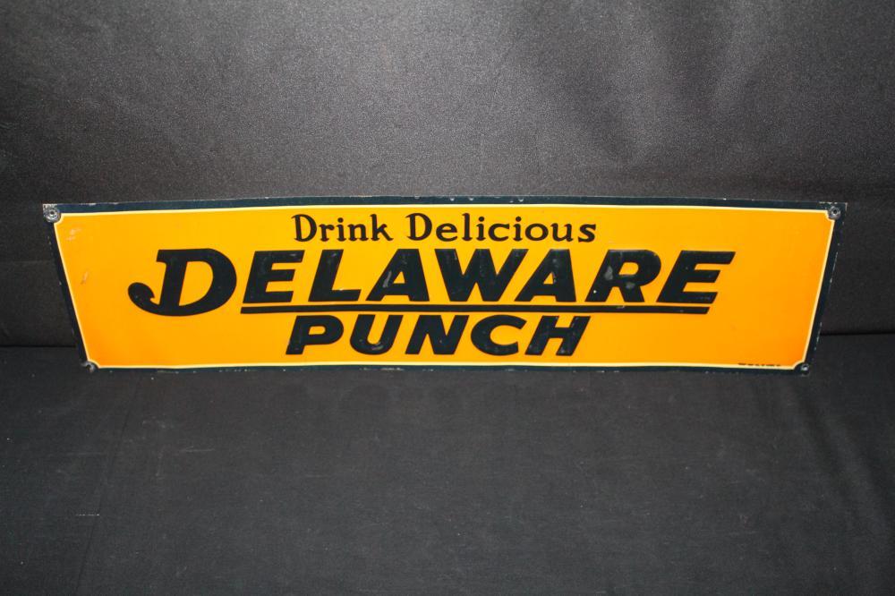 DRINK DELAWARE PUNCH SODA POP TIN SIGN