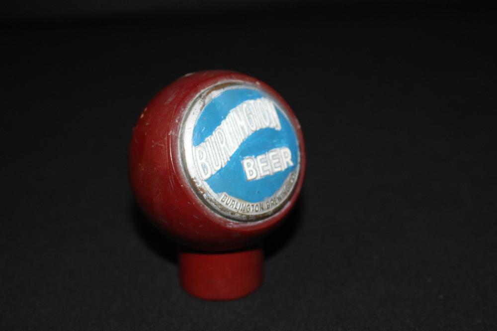 REPAINTED BURLINGTON BEER BALL TAP KNOB