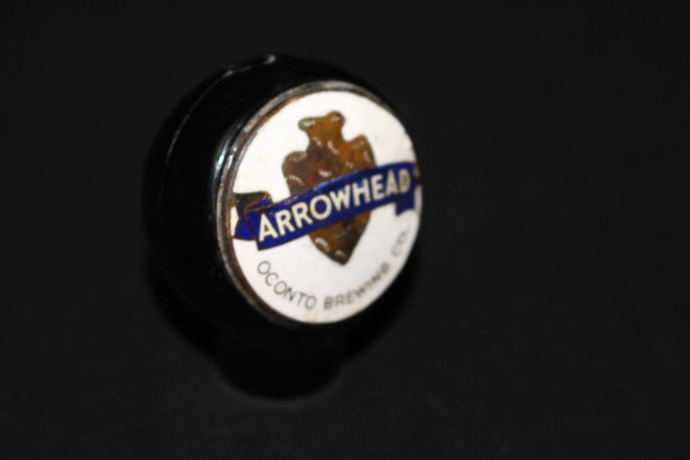 REPAINTED OCONTO ARROWHEAD BEER BALL TAP KNOB