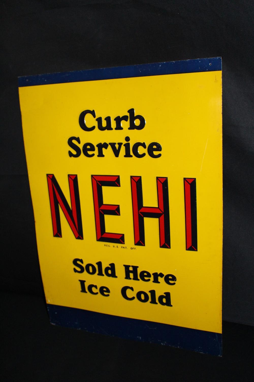 NEHI CURB SERVICE SODA POP TIN SIGN