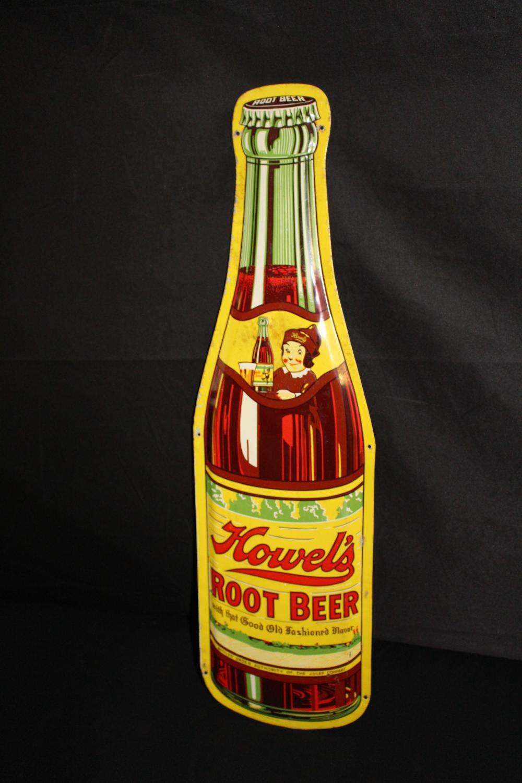 HOWELS ROOT BEER BOTTLE SODA POP TIN SIGN