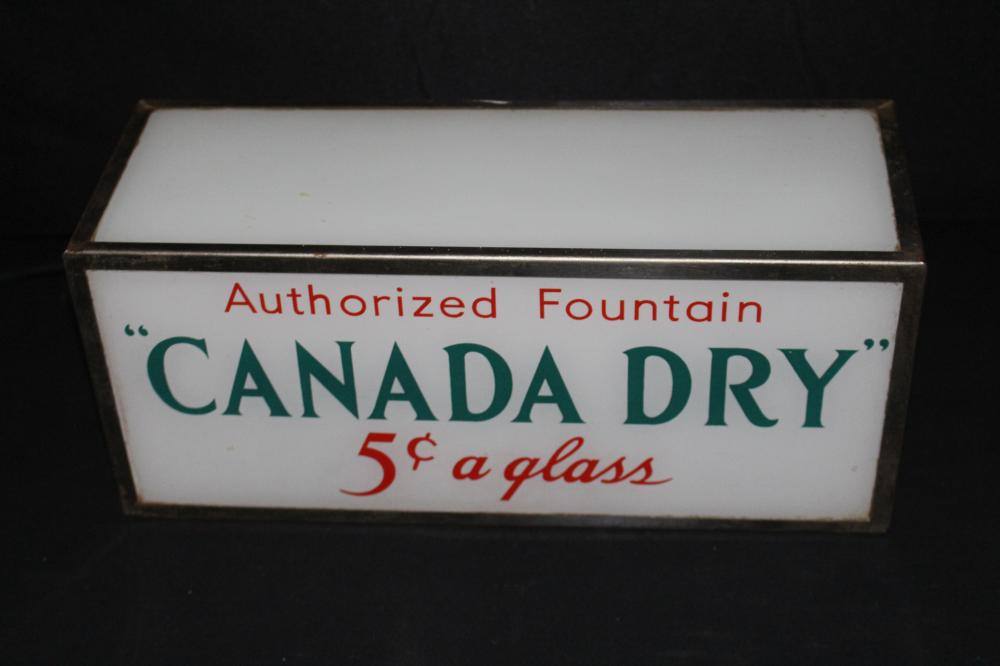 CANADA DRY 5 CENT SODA FOUNTAIN LIGHTED SIGN
