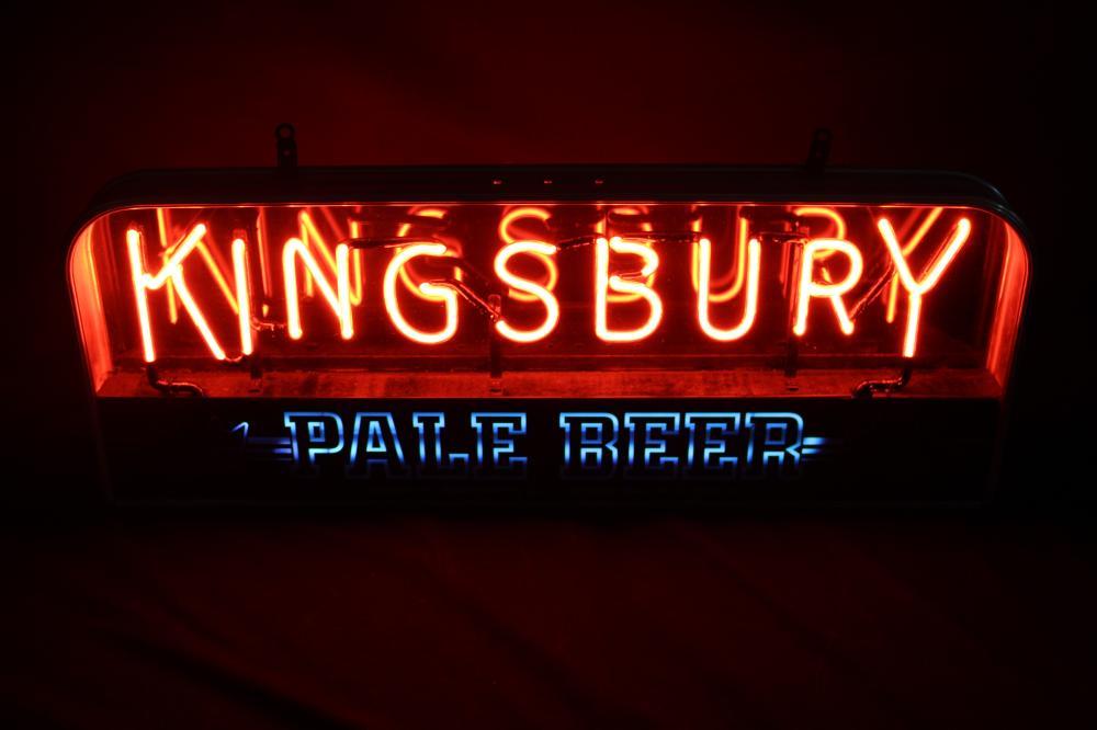 RESTORED KINGSBURY PALE BEER NEON LIGHTED SIGN
