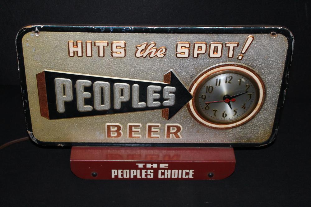 PEOPLES BEER CASH REGISTER SIGN