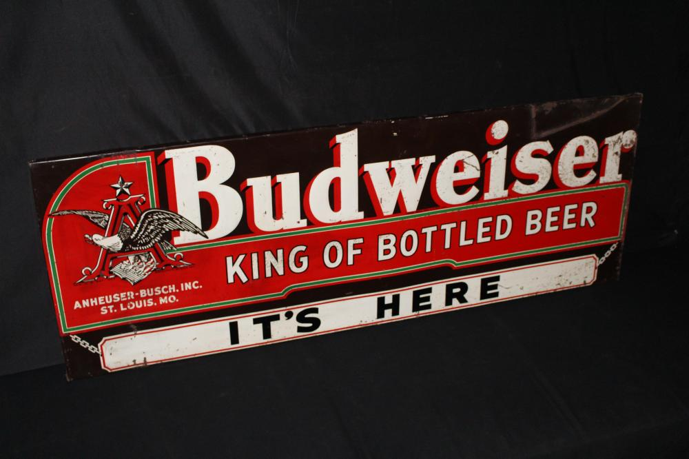 """BUDWEISER KING OF BEERS """"ITS HERE"""" SIGN"""