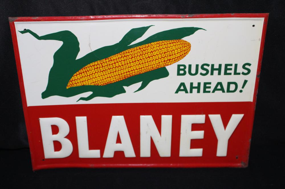 BLANEY BUSHELS AHEAD SEED CORN TIN FARM SIGN