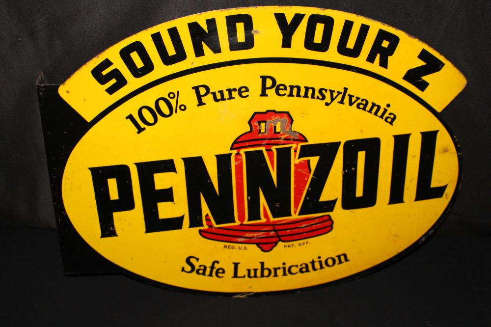 PENNZOIL SOUND YOUR Z MOTOR OIL FLANGE SIGN