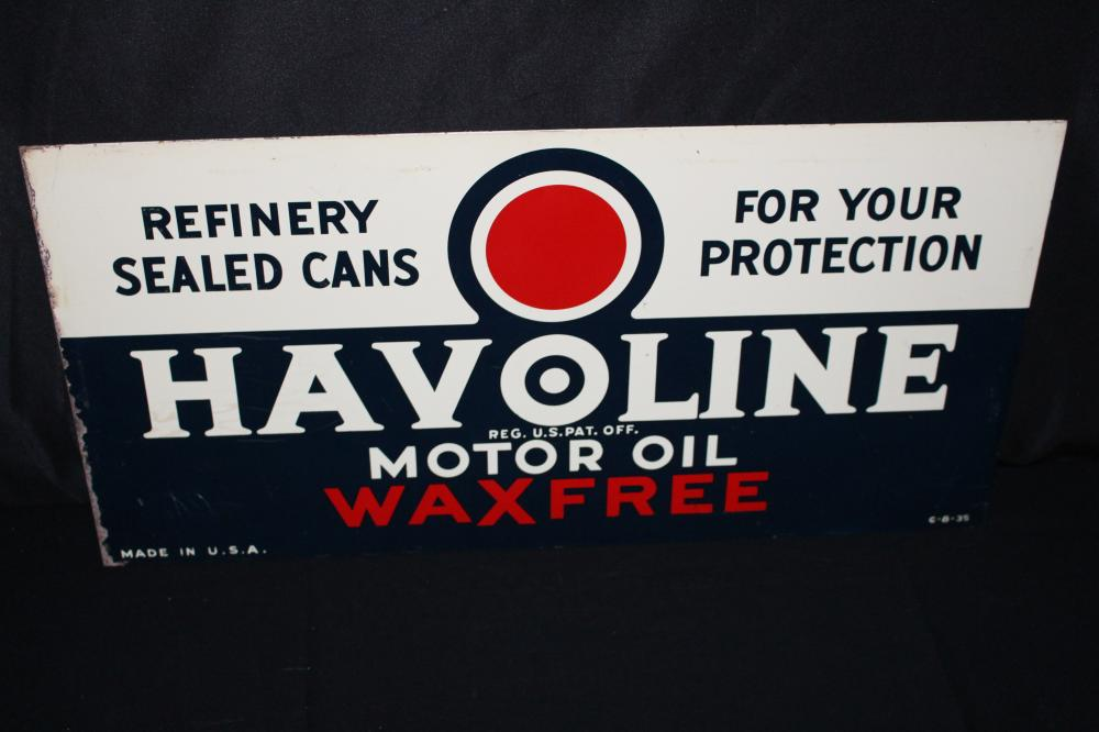 HAVOLINE MOTOR OIL TIN SIGN DOUBLE SIDED