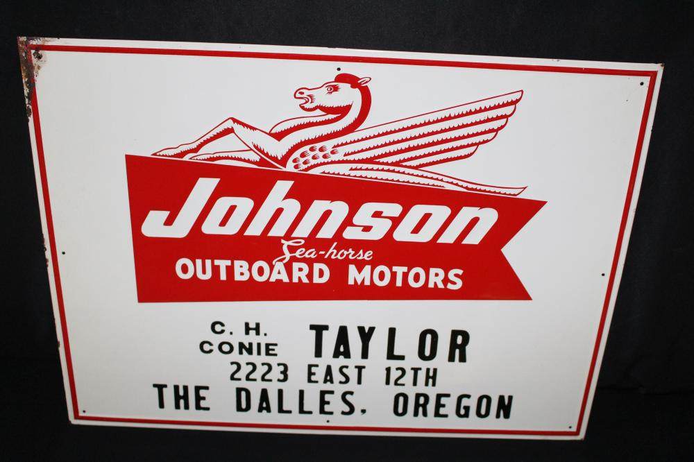 JOHNSON SEA HORSE OUTBOARD MOTOR SIGN DALLES OR