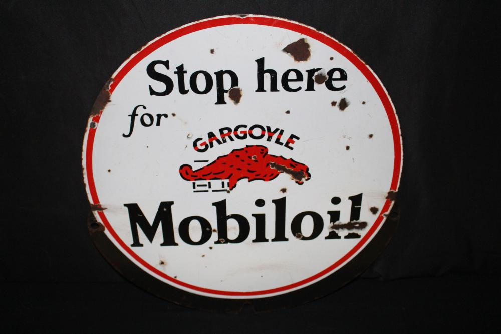 RARE VERSION STOP HERE MOBILOIL GARGOYLE SIGN