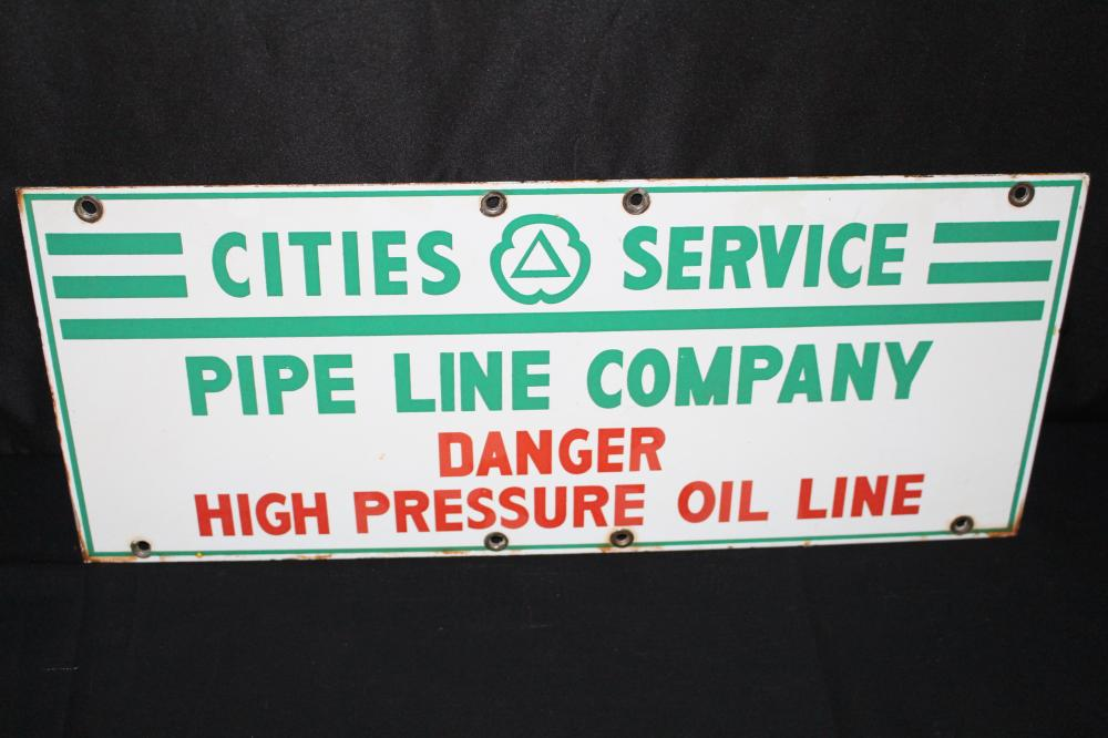 PORCELAIN CITIES SERVICE GAS PIPELINE SIGN