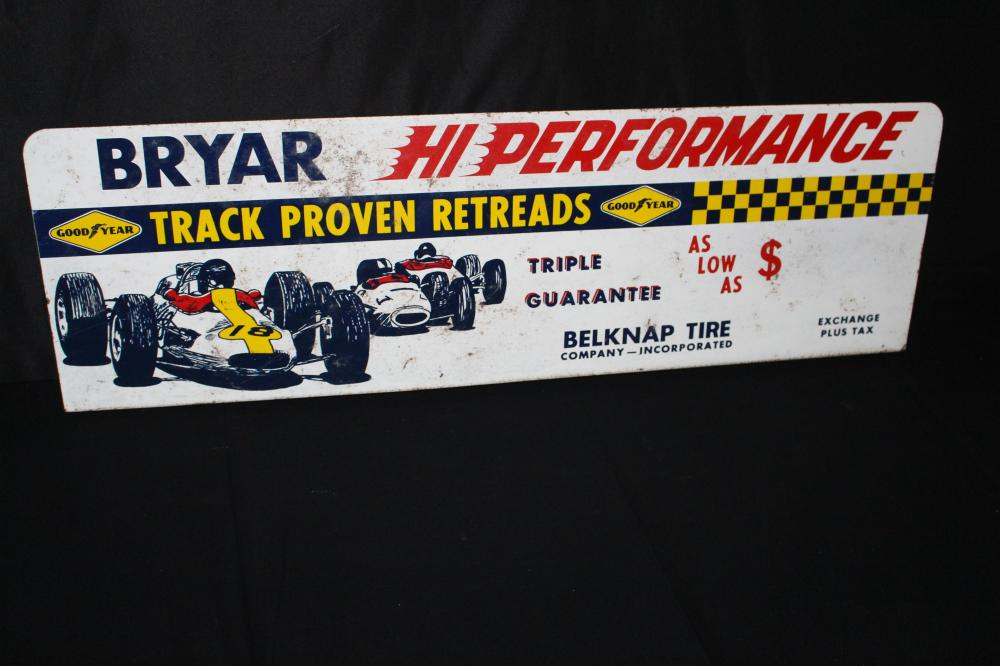 GOOD YEAR HIGH PERFORMANCE RACE CAR TIRE RACK SIGN