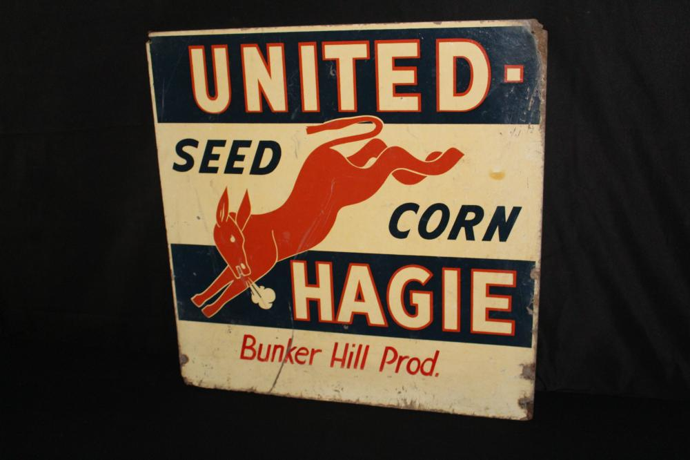UNITED HAGIE KICKING MULE SEED CORN FARM SIGN