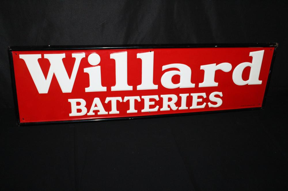 NOS WILLARD BATTERIES EMBOSSED TIN SIGN