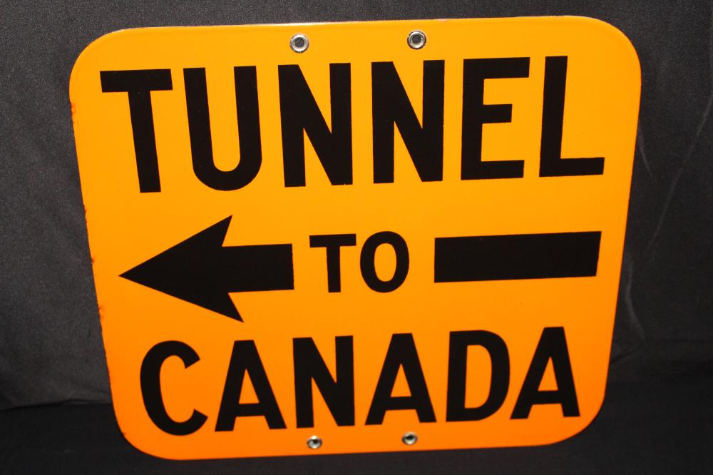 NOS PORCELAIN TUNNEL TO CANADA ROAD SIGN