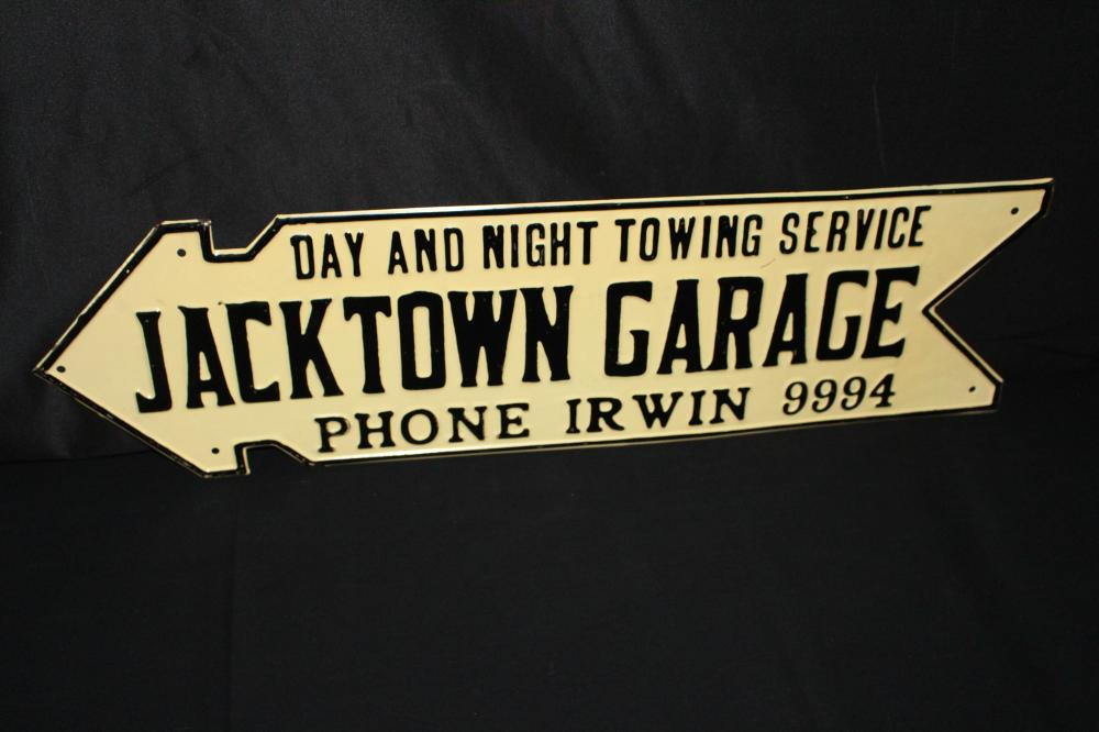 NOS JACKTOWN GARAGE ARROW SIGN OKLAHOMMA OK