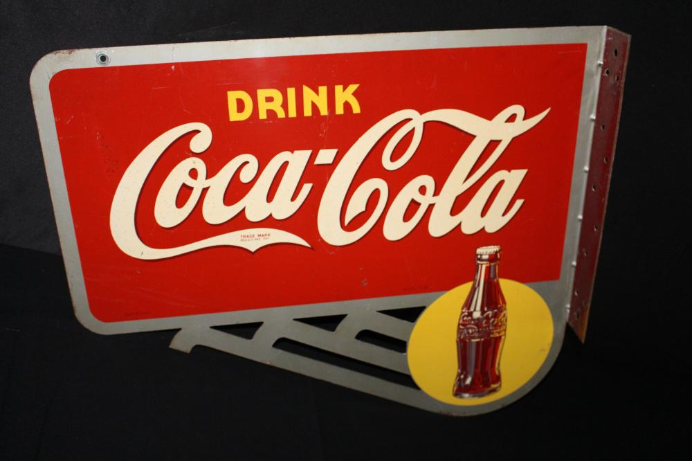 1939 COCA COLA YELLOW DOT BOTTLE FLANGE SIGN