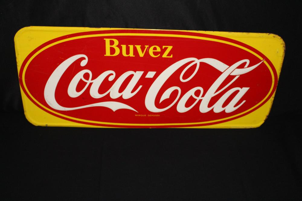 CANADIAN BUVEZ COCA COLA SODA POP TIN SIGN CANADA