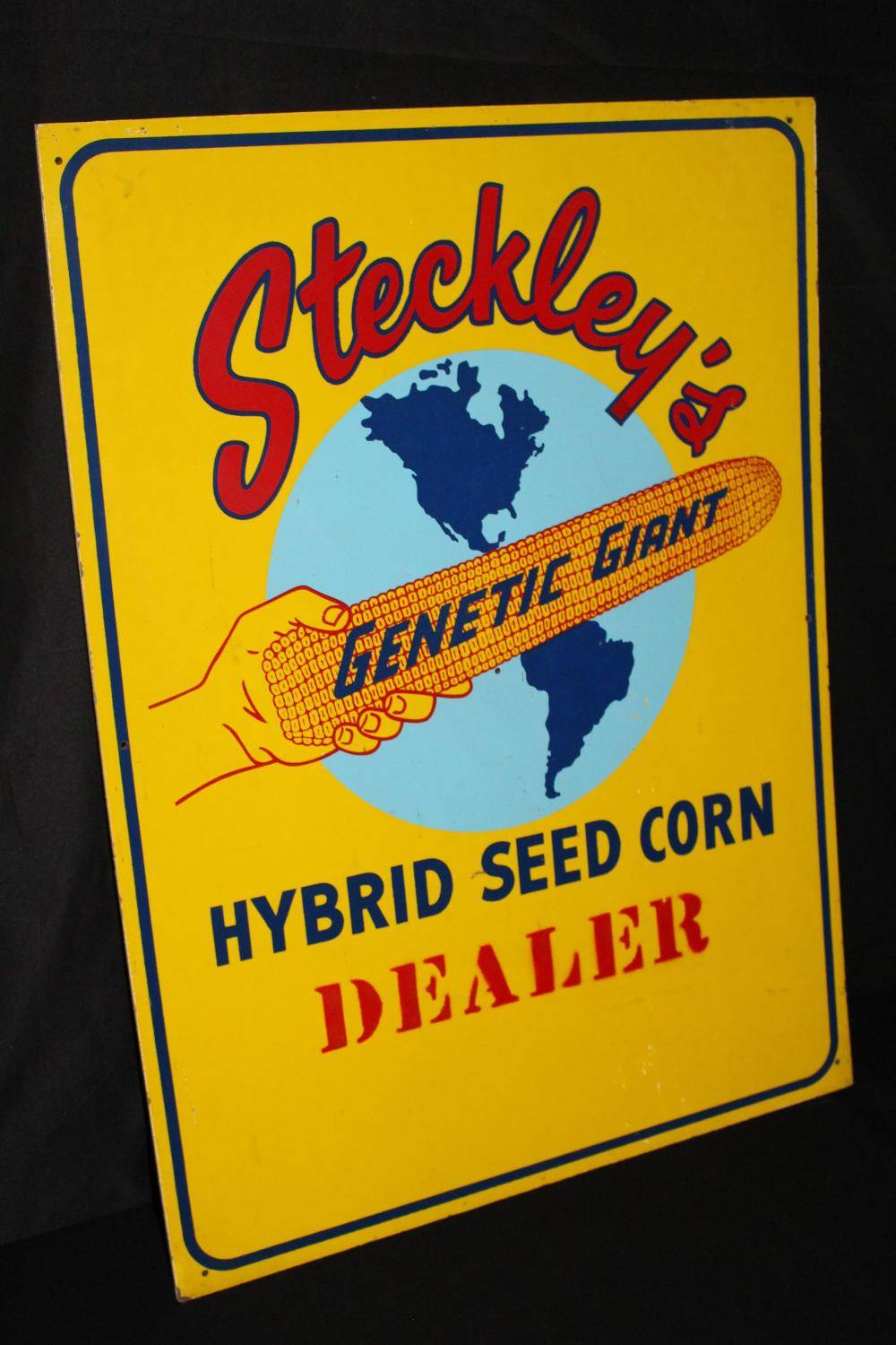 STECKLEYS GENETIC GIANT HYBRID SEED CORN FARM SIGN