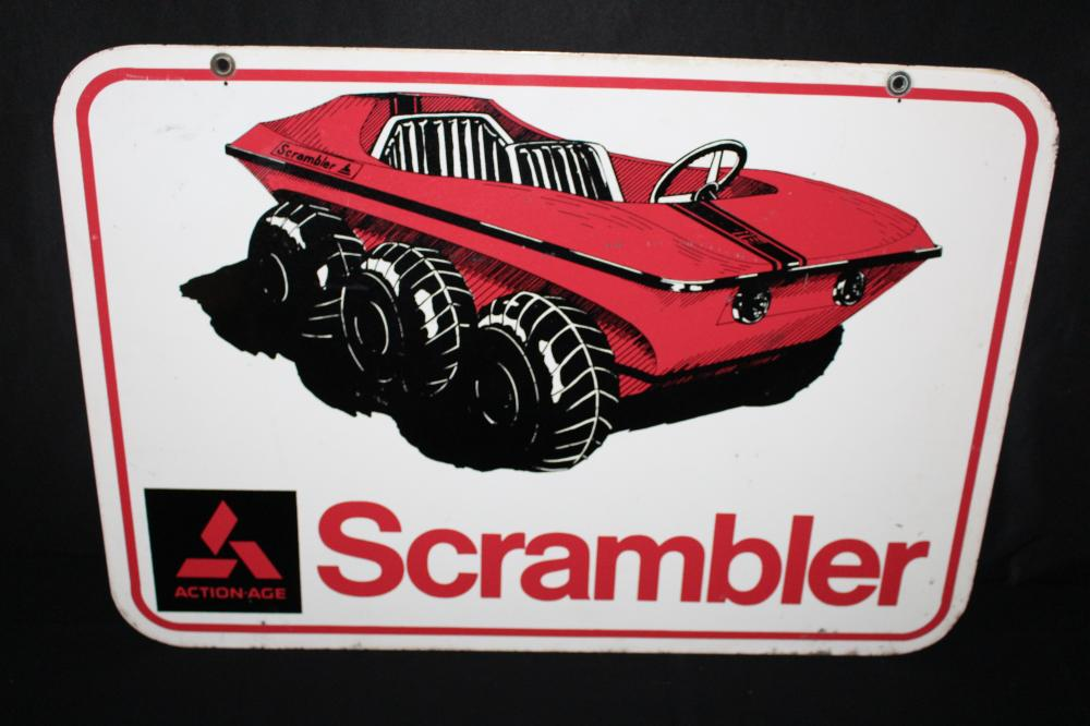 ACTION AGE SCRAMBLE OFF ROAD VEHICLE DEALER SIGN