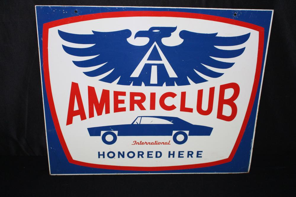 AMERICLUB INTERNATIONAL CAR & EAGLE LOGO SIGN
