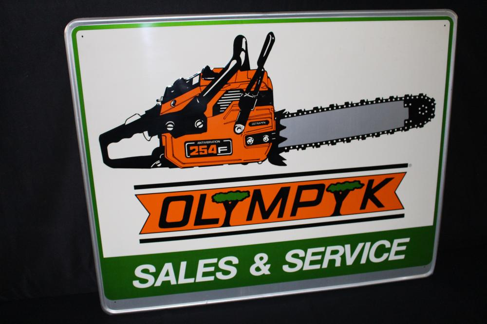 NOS OLYMPYC CHAINSAW SALES SERVICE SIGN