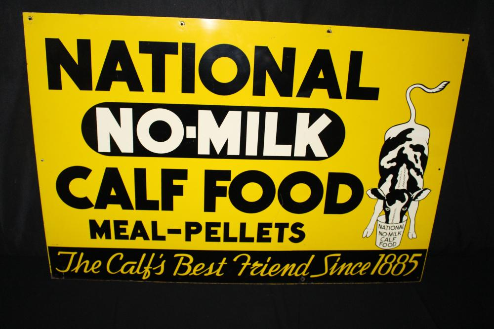 NATIONAL NO MILK CALF FOOD TIN FARM SIGN