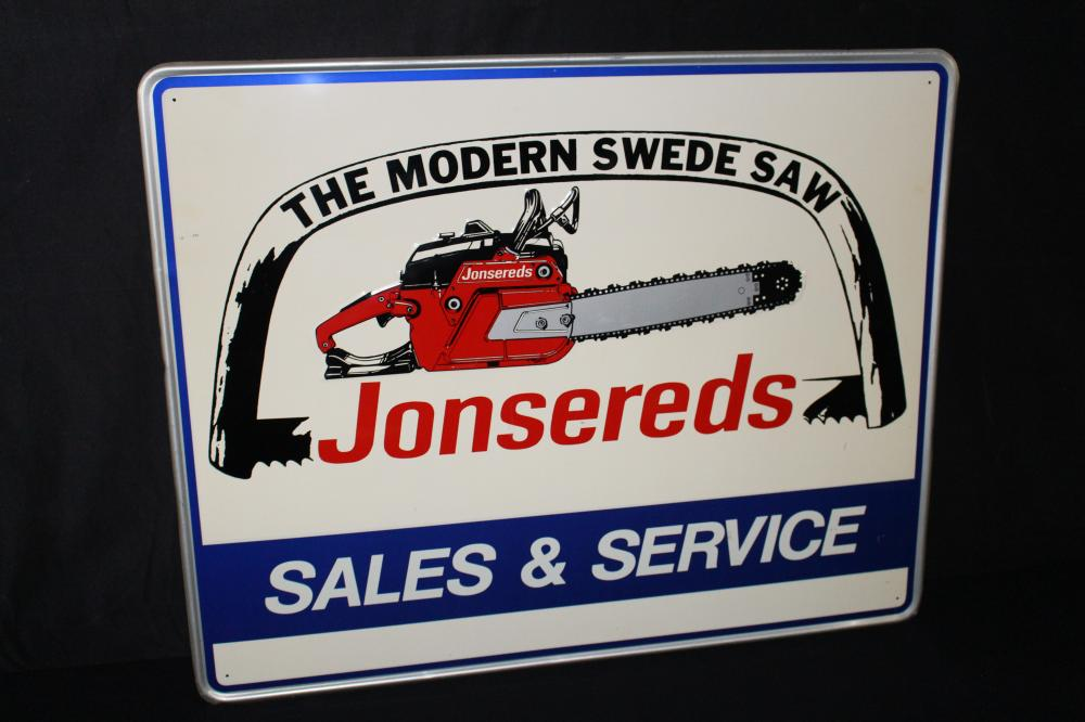 NOS JONSEREDS CHAINSAW SALES SERVICE SIGN